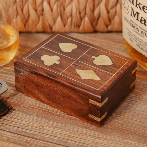Classic Playing Cards Gift For Men in Brass Inlaid Retro Style Wooden Box